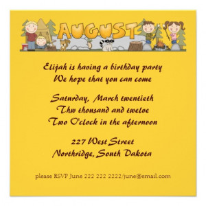 Birth Month Party Invitations