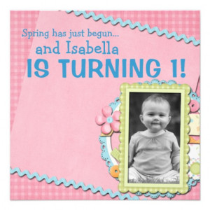Sweet Spring Summer First Birthday Personalized Invite from Zazzle.com