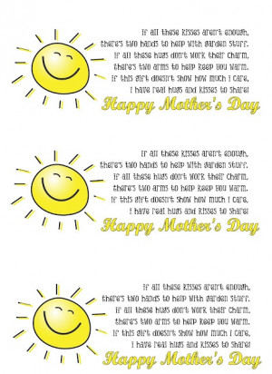 Mother's Day poem (hugs and kisses). Print them out and put them on a ...