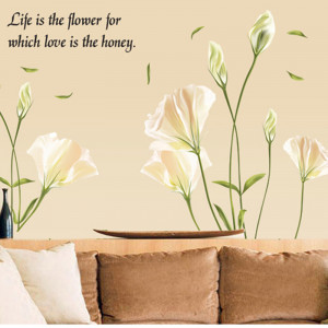 Life Is Flower English Quote Saying Letters Wall Stickers Lily Flower