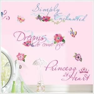 New DISNEY PRINCESS QUOTES WALL DECALS Princesses Stickers Girls Room ...
