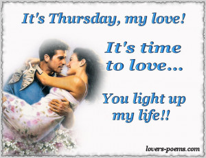 It's Thursday, my love! I love you!