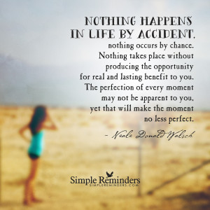 Nothing happens in life by accident by Neale Donald Walsch