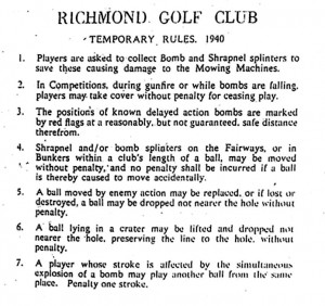 This is a notice posted in war-torn Britain in 1940 for golfers with ...
