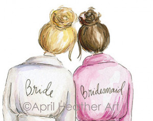 ... PDF Download printable cards Blonde bride, brunette bridesmaid
