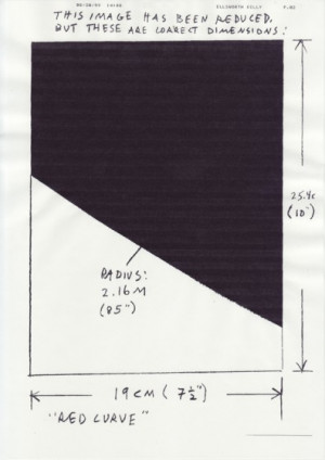 Ellsworth Kelly indicates on this fax the size of the reproduction of ...