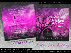 Wicked Fun Halloween Gothic Wedding Invitations by Paperstation