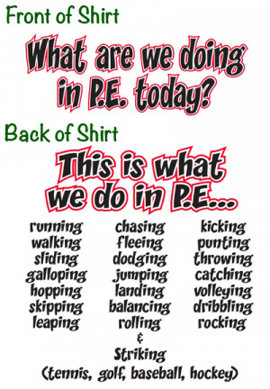 Best Pe Teacher Quotes Front: what are we doing in pe