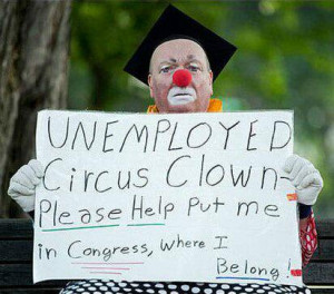 funny circus clown unemployed