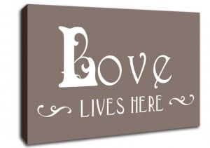 Show details for Love Quote Love Lives Here Vines Beige