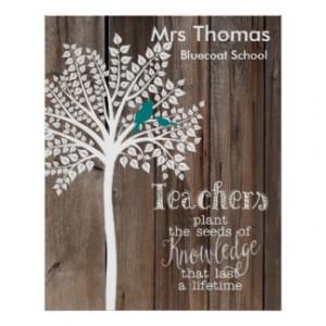 Teacher Thank you poster tree birds