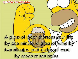 quotes-lover.comA glass of beer shortens your life by one minute, a ...
