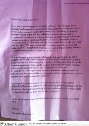 ... letter sent by a mother against mentally handicapped children