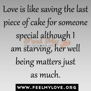 ... special although I am starving, her well being matters just as much