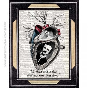 Edgar Allan Poe and Virginia Poe Quote art print on dictionary book ...