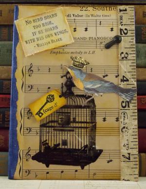 Mixed Media Collage Art William Blake Quote Bird Cage