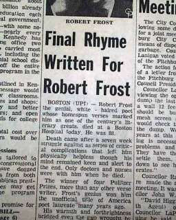 Robert Frost Deaths | ROBERT FROST DEATH American Poetry Poems 1963 ...