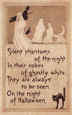 Friends used to send these cards to each other on Halloween. Sort of ...