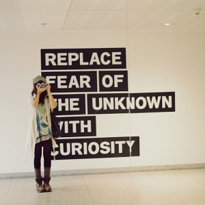 curiosity, fear, girl, inspirational, quote, taking picture, texts