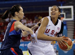 USA's Candace Parker , right, tries to pass South Korea's Lee Jongae ...
