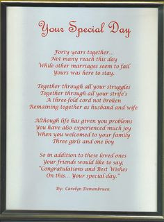 Anniversary Poems For Parents | ETA: If you do use this one and tweak ...