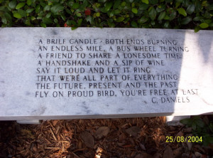 From Ronnie VanZandt's grave. It's fitting here too.