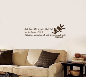 Vinyl Decal Psalms Bible Quote Lord God Olive Tree Home Wall Art Decor ...