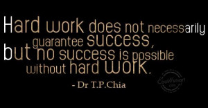 Hard Work Quote: Hard work does not necessarily guarantee success ...