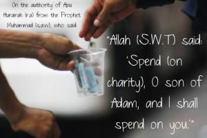 Spend on charity— [Hadis Qudsi (no. 11), Sahih al-Bukhari (Hadith 7 ...