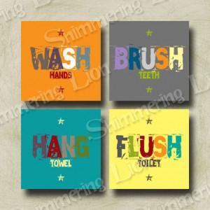 Kids Bathroom Bath Wash Brush Hang Flush Printable Wall Art DIY Yellow ...