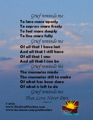 Grief reminds me that love never dies - A Poem