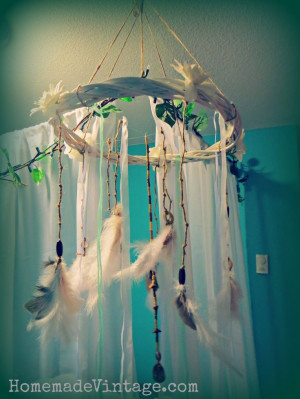 Large Boho Feather Chandelier Craft DIY Vintage Native Look Decorating ...