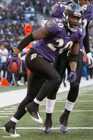 Baltimore Ravens free safety Ed Reed reacts to his interception during ...
