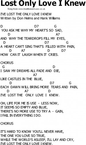 old country song lyrics with chords lost only love i knew old country