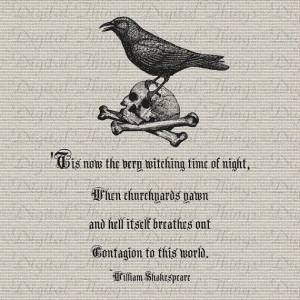 Halloween Skull Raven William Shakespeare Quote by DigitalThings, $1 ...