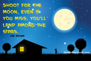 for creative design for inspirational quote footsteps on the moon
