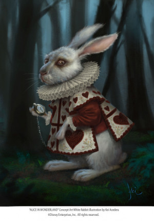 :627x900 1669 White Rabbit 2d illustration alice in wonderland rabbit ...