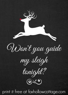Rudolph The Red Nosed Reindeer Chalkboard Printable - DIY Christmas ...