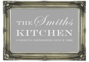 Quotes Your Family Name And Date Kitchen Grey White Wall Murals