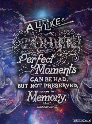 moments can be had, but not preserved, except in memory. - Leonard ...