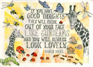 Giraffe Poster - 'You Look Lovely' Roald Dahl Quote. A3. Digital Print ...