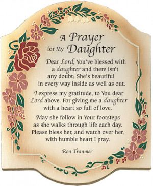 Prayer For My Daughter Plaque