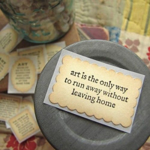 Hand Stamped Stickers- ART quotes on Recycled Paper picture on Visu...