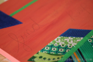 Mod Podge the fabric to the canvas. Apply the glue first to the ...