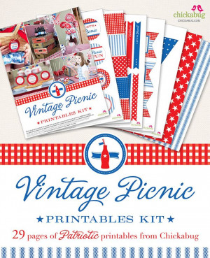 Vintage Picnic Printables Kit from Chickabug - 29 Pages of patriotic ...