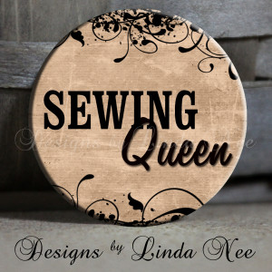 Sewing Queen, with flourish, tan