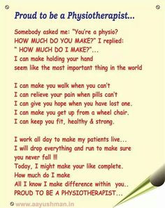 Proud to be a physiotherapist More