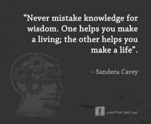 Wisdom vs. knowledge