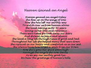 Heaven Gained Another Angel Poem