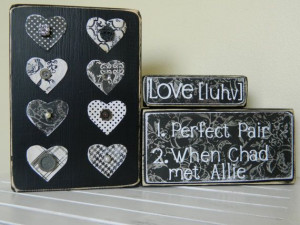 Love quotes on black wooden blocks for wedding, shower, anniversary or ...